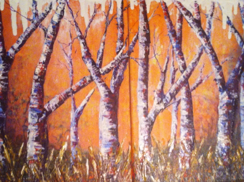 "Forest Glow   Two 8""x8""   Painted Feb. 2014  $35"